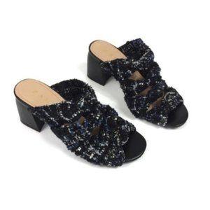 Zara Sandals 37 6.5 Block Heel